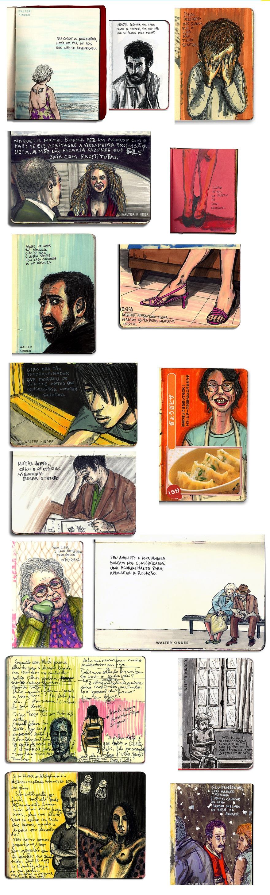 Ilustrações em sketchbooks
